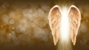 - Wide golden brown bokeh background with a large pair of Angel Wings on the right side and a shaft of bright light between